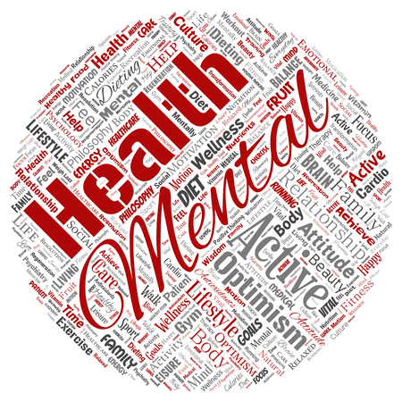 Vector conceptual mental health or positive thinking round circle red word cloud isolated background. Collage of optimism, psychology, mind healthcare, thinking, attitude balance or motivation text