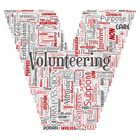 Vector conceptual volunteering, charity, humanitarian letter font V red word cloud isolated background. Collage of selfless, support, philanthropy, nonprofit, goodness, togetherness, giving concept