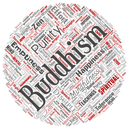 Vector conceptual buddhism, meditation, enlightenment, karma round circle red word cloud isolated background. Collage of mindfulness, reincarnation, nirvana, emptiness, bodhicitta, happiness concept