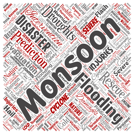 Vector conceptual monsoon dangerous weather square red meteorology word cloud isolated background. Collage of tropical dramatic storm force, strong wind blowing, rain hail thunderstorm concept design 向量圖像