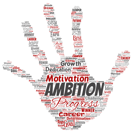 Vector conceptual leadership ambition or motivation hand print stamp successful character word cloud isolated background. Collage of business growth challenge, positive dream inspiration goal concept Illustration