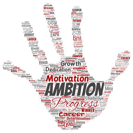 Vettore concettuale leadership ambizione o motivazione mano stampa timbro carattere di successo parola cloud sfondo isolato. Collage di sfida di crescita aziendale, concetto di obiettivo di ispirazione sogno positivo