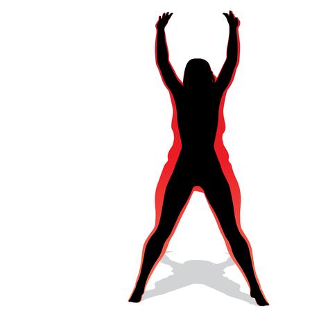 Vector concettuale grasso sovrappeso femmina obesa vs slim fit corpo sano dopo perdita di peso o dieta con i muscoli sottile giovane donna isolata. Obesità fitness, nutrizione o grasso, forma della silhouette di salute Vettoriali