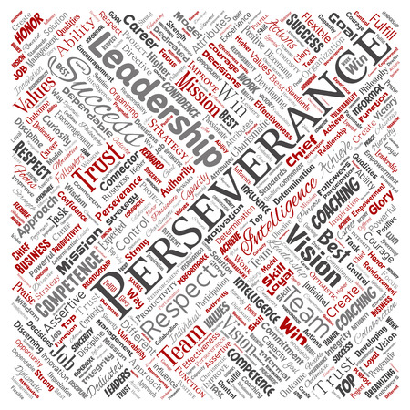 Vector conceptual business leadership strategy, management value square red word cloud isolated background. Collage of success, achievement, responsibility, intelligence authority or competence