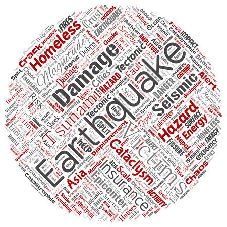 Vector conceptual terremoto actividad círculo rojo palabra nube aislada fondo. Collage de temblor sísmico natural de la corteza tectónica, riesgo de olas de tsunami violentas, concepto de cambio de placas tectónicas