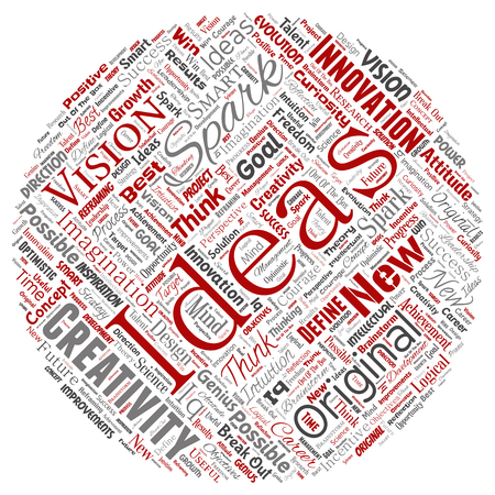 Vector conceptual creative idea brainstorming human round circle red word cloud isolated background. Collage of spark creativity original, innovation vision, think, achievement or smart genius concept