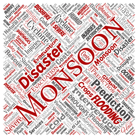 Vector conceptual monsoon dangerous weather square red meteorology word cloud isolated background. Collage of tropical dramatic storm force, strong wind blowing, rain hail thunderstorm concept design Ilustrace