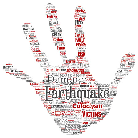 Vector conceptual earthquake activity hand print stamp word cloud isolated background. Collage of natural seismic tectonic crust tremble, violent tsunami waves risk, tectonic plates shifting concept