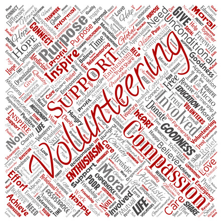 Vector conceptual volunteering, charity, humanitarian square red word cloud isolated background. Collage of selfless, support, philanthropy, nonprofit,  goodness, togetherness, giving concept