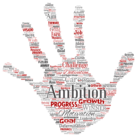 Vector conceptual leadership ambition or motivation hand print stamp successful character word cloud isolated background. Collage of business growth challenge, positive dream inspiration goal concept  イラスト・ベクター素材