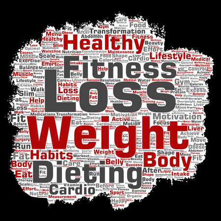 Vector conceptual weight loss healthy diet transformation paint brush paper word cloud isolated background. Collage of fitness motivation lifestyle, before and after workout slim body beauty concept Vector Illustration