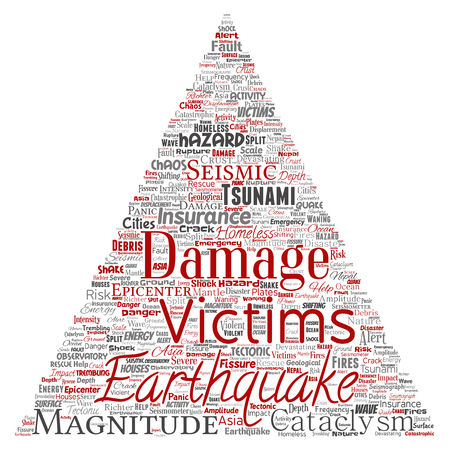 Vector conceptual earthquake activity triangle arrow word cloud isolated background. Collage of natural seismic tectonic crust tremble, violent tsunami waves risk, tectonic plates shifting concept