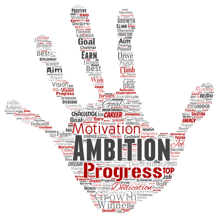 Vector conceptual leadership ambition or motivation hand print stamp successful character word cloud isolated background. Collage of business growth challenge, positive dream inspiration goal concept Ilustrace