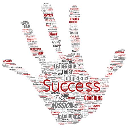 벡터 개념적 비즈니스 리더십 전략, 관리 가치 손 인쇄 스탬프 단어 구름 고립 된 배경. 성공, 성취, 책임, 정보 권위 또는 능력의 콜라주