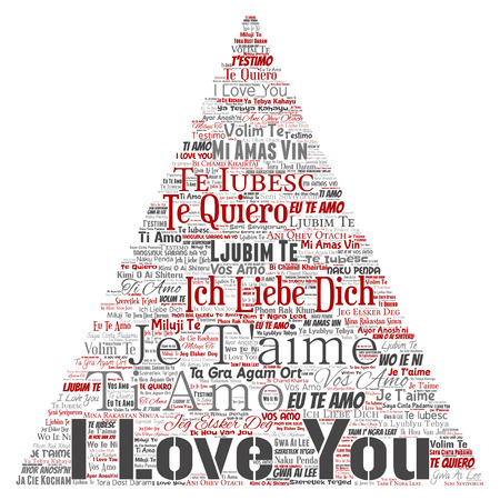 Vector conceptual sweet romantic I love you multilingual message triangle arrow word cloud isolated background. Collage of valentine day, romance affection,  happy emotion or passion lovely concept