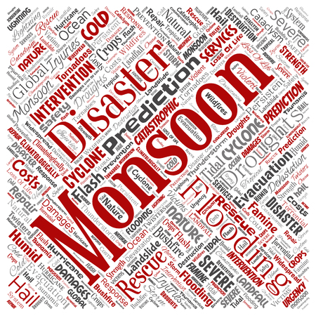 Vector conceptual monsoon dangerous weather square red meteorology word cloud isolated background. Collage of tropical dramatic storm force, strong wind blowing, rain hail thunderstorm concept design Illustration