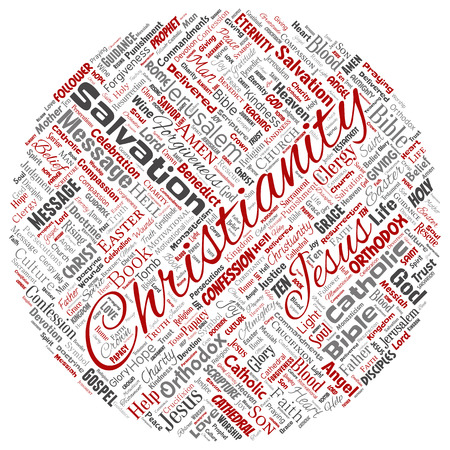 Vector conceptual christianity, jesus, bible, testament round circle red  word cloud isolated background. Collage of teachings, salvation resurrection, heaven, confession, forgiveness, love concept