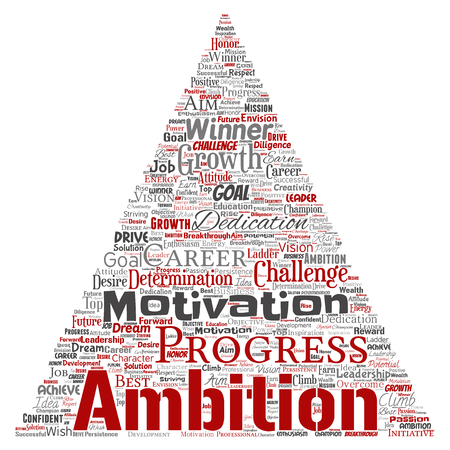 Vector conceptual leadership ambition or motivation triangle arrow successful character word cloud isolated background. Collage of business growth challenge, positive dream inspiration goal concept