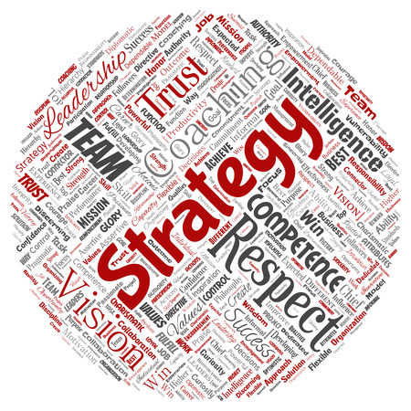 Vector conceptual business leadership strategy, management value round circle red word cloud isolated background. Collage of success, achievement, responsibility, intelligence authority or competence