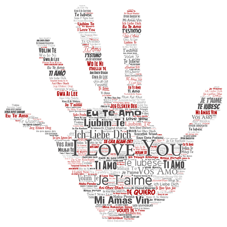 Vector conceptual sweet romantic I love you multilingual message hand print stamp word cloud isolated background. Collage of valentine day, romance affection,  happy emotion or passion lovely concept