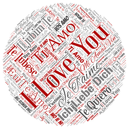 Vector conceptual sweet romantic I love you multilingual message round circle red word cloud isolated background. Collage of valentine day, romance affection, happy emotion or passion lovely concept