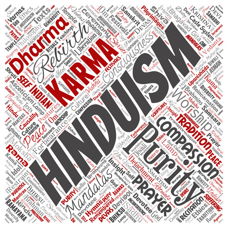 Vector conceptual hinduism, shiva, rama, yoga square red word cloud isolated background. Collage of mandalas, samsara, celebration, tradition, peace, compassion, rebirth, karma, dharma concept