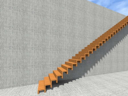 Conceptual stair on wall background building or architecture as metaphor to business success, growth, progress or achievement. 3D illustration of creative steps riseing up to the top as vision design Reklamní fotografie