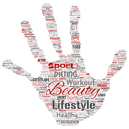 Vector conceptual healthy living positive nutrition sport hand print stamp word cloud isolated background. Collage of happiness care, organic, recreation workout, beauty, vital healthcare spa concept