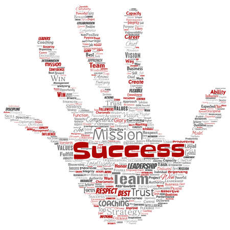Vector conceptual business leadership strategy, management value hand print stamp word cloud isolated background. Collage of success, achievement, responsibility, intelligence authority or competence