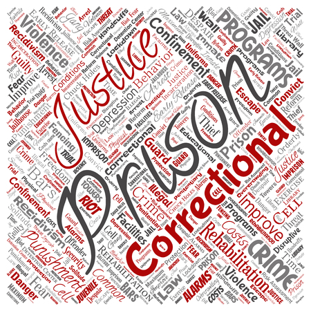 Vector conceptual prison, justice, crime square red word cloud isolated background. Collage of punishment, law, rights, social, authority, system, civil, trial, rehabilitation, freedom concept