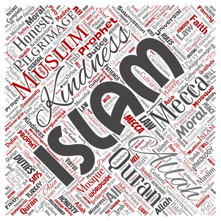 Vector conceptual islam, prophet, mosque square red word cloud isolated background. Collage of muslim, ramadam, quran, pilgrimage, allah, duties, art, calligraphy, oriental, tradition concept