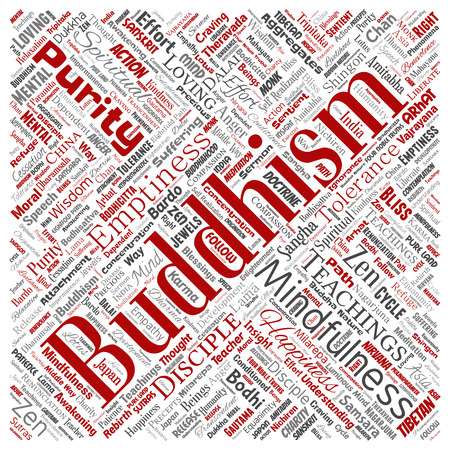 Vector conceptual buddhism, meditation, enlightenment, karma square red word cloud isolated background. Collage of mindfulness, reincarnation, nirvana, emptiness, bodhicitta, happiness concept  イラスト・ベクター素材