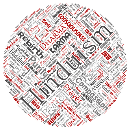 Vector conceptual hinduism, shiva, rama, yoga round circle red word cloud isolated background. Collage of mandalas, samsara, celebration, tradition, peace, compassion, rebirth, karma, dharma concept