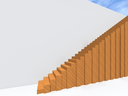 Conceptual stair on wall background building or architecture as metaphor to business success, growth, progress or achievement. 3D illustration of creative steps riseing up to the top as vision design Фото со стока