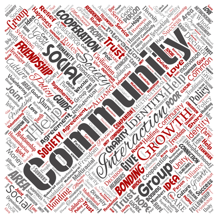 Vector conceptual community, social, connection square red word cloud isolated background. Collage of group, teamwork, diversity, friendship, communication, inclusion, care, respect concept