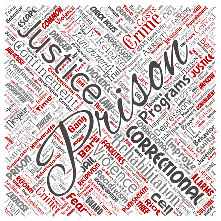 Vector conceptual prison, justice, crime square red word cloud isolated background. Collage of punishment, law, rights, social, authority, system, civil, trial, rehabilitation, freedom concept Vecteurs