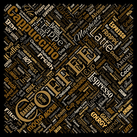 Vector conceptual creative hot morning italian coffee break cappuccino or espresso restaurant or cafeteria square red beverage word cloud isolated. A splash of energy or taste drink concept text