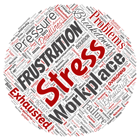 Vector conceptual mental stress at workplace or job pressure human round circle red word cloud isolated background. Collage of health, work, depression problem, exhaustion, breakdown, deadlines risk Ilustração Vetorial
