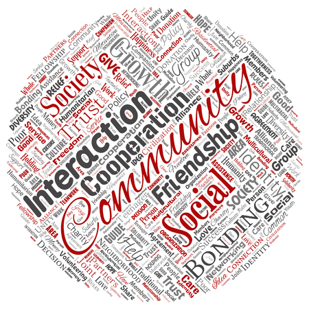 Vector conceptual community, social, connection round circle red word cloud isolated background. Collage of group, teamwork, diversity, friendship, communication, inclusion, care, respect concept Ilustração