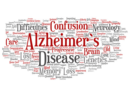 Vector concept conceptual old Alzheimer`s disease symptom abstract word cloud isolated on background. Collage of care, loss, caregiving, aging resistance, neurology, language, motor or resistance text Ilustração