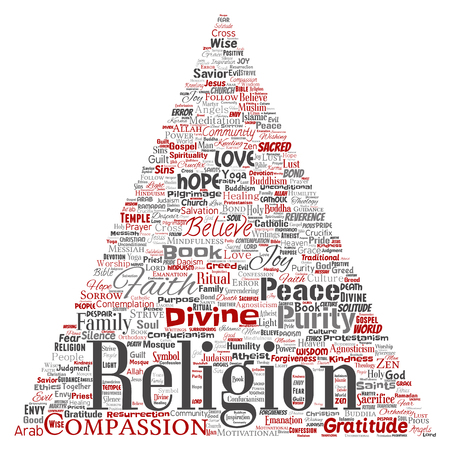 Vector conceptual religion, god, faith, spirituality triangle arrow red  word cloud isolated background. Collage of worship, love, prayer, belief, gratitude, hope, divine, symbol, spirit, church concept Vectores