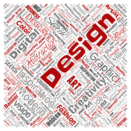 Vector conceptual creativity art graphic identity design visual square red word cloud isolated background. Collage of advertising, decorative, fashion, inspiration, vision, perspective modeling Ilustração