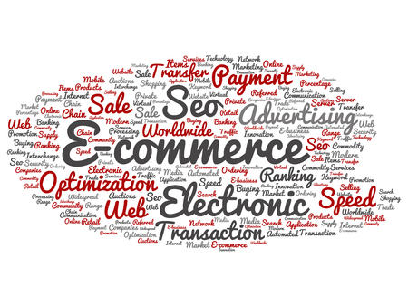 Vector conceptual E-commerce electronic sales abstract word cloud isolated on background
