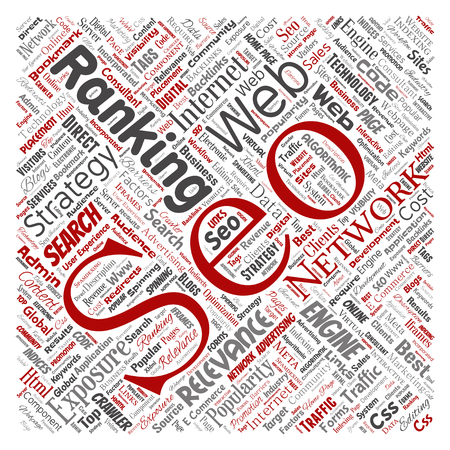 Conceptual search results engine optimization top rank seo square red online internet word cloud text isolated on background. Marketing strategy web page content relevance network concept