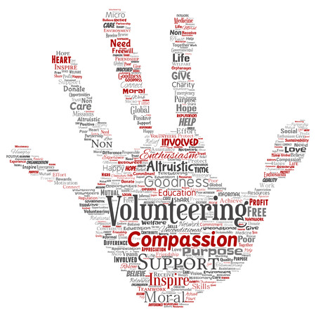 Vector conceptual volunteering, charity, humanitarian hand print stamp word cloud isolated background. Collage of selfless, support, philanthropy, nonprofit, goodness, togetherness, giving concept