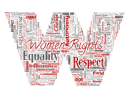 Vector conceptual women rights, equality, free-will letter font W red word cloud isolated background. Collage of feminism, empowerment, integrity, opportunities, awareness, courage, education, respect concept Illustration