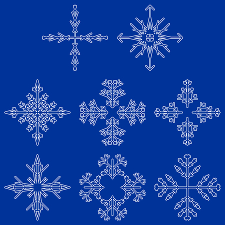 Vector collection of artistic icy abstract crystal snow flakes isolated on background as winter december decoration group or collection. Ice or frost beautiful star ornament silhouette or season art
