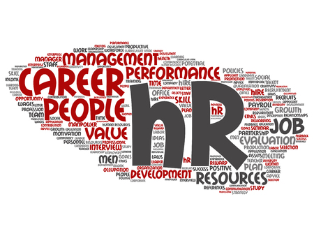 Vector concept conceptual hr or human resources career management abstract word cloud isolated on background. Collage of workplace, development, hiring success, competence goal, corporate or job text Vettoriali