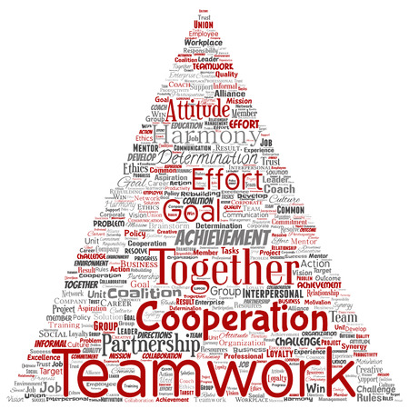Vector conceptual teamwork management triangle arrow red partnership idea, success goal word cloud isolated background. Collage of business strategy, group cooperation solution or team concept design Imagens - 113524753