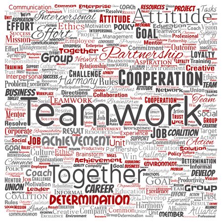Vector conceptual teamwork management square red partnership idea or success goal word cloud isolated background. Collage of business strategy as group cooperation solution   or team concept design Ilustração